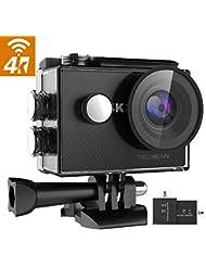 """TEC.BEAN Action Cam 16MP Wi-Fi, Videocamera 4K Full-HD, Action Camera Impermeabile con LCD Display da 2"""", Obiettivo Grandangolare da 170°, 2 Batterie Ricaricabili e Kit Accessori"""