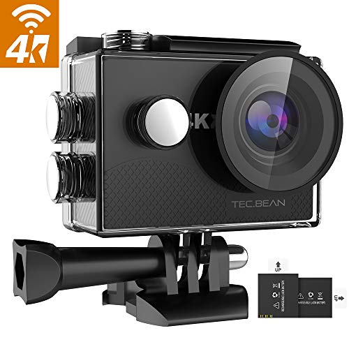 TEC.BEAN 4K 16MP Action Cam, WiFi Ultra HD Action Camera, Fotocamera Subacquea Impermeabile 30M con...