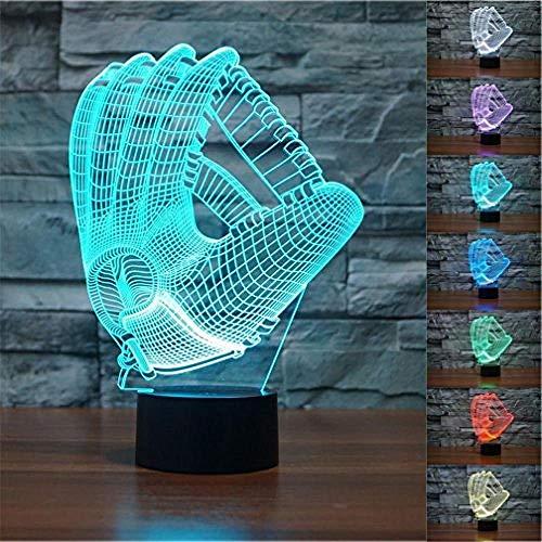 3D-Tennis-Spieler LED-Nachtlicht 7 Farben Ändern Tischlampe Touch-Schalter Schreibtischlampe USB Powered für Heim/Büro Dekorationen/Geschenke @ Baseball-Handschuh