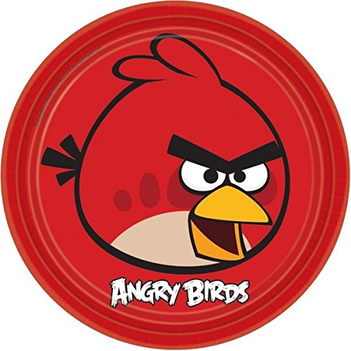 American Greetings Angry Birds Round Plate (8 Count), 9