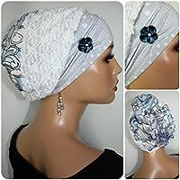 Beanie Mütze Ballonmütze Weiß Blau Strick mit Band little things in life Chemo Cap Hat Chemomütze Mütze bei Krebs Kopfbedeckung Turban