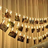 #4: Fancyku Led Photo Clip Remote String Lights, 10 LEDs Battery Operated Fairy String Lights 5 Feet Warm White