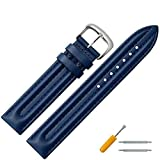 Uhrenarmband 18mm Leder blau Naht - robustes Lederarmband mit Doppelwulstpolsterung
