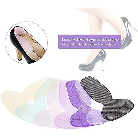 Rosba (TM) almohadilla de silicona cojín plantillas para zapatos de tacón en forma de T antideslizante Gel talón maletero agarre inserto de zapato pie cuidado protector de color al azar
