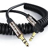 Espiral Espiral del Cable Auxiliar 1M(2 Pack)-Cable de Audio en ángulo de 90 Grados Auxiliar Superior de 90 Grado -para Auriculares con micrófono Apple Inicio/MP3 del Coche,etc-Pistola Delgada IBRA