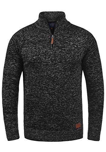 Blend Danovan Herren Strickpullover Troyer Feinstrick Pullover Mit Stehkragen Und Reißverschluss, Größe:M, Farbe:Black (70155)