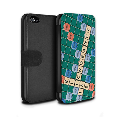 Stuff4 Coque/Etui/Housse Cuir PU Case/Cover pour Apple iPhone 4/4S / Lutte Incendie Design / Mots de Scrabble Collection Ignorance Béatitude