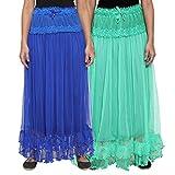 NumBrave Blue & Green Long Flared Skirt ...