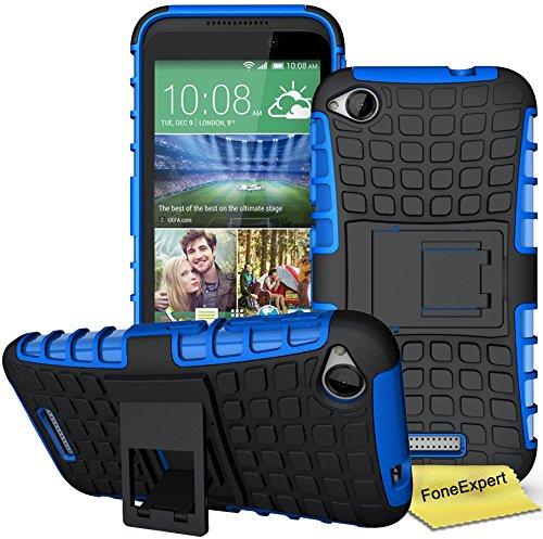 HTC Desire 320 Handy Tasche, FoneExpert® Hülle Abdeckung Cover schutzhülle Tough Strong Rugged Shock Proof Heavy Duty Case für HTC Desire 320 + Displayschutzfolie (Blau)