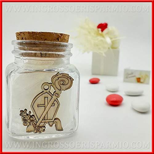 Ingrosso e risparmio 12 vasetti in vetro e tappo in sughero per confetti con legnetto simboli della santa cresima bomboniere utili portaspezie (con confezione tiffany)