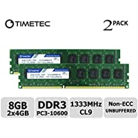 Timetec Hynix IC 8GB Kit (2x4GB) DDR3 1333MHz PC3-10600 Unbuffered Non-ECC 1.5V CL9 2Rx8 Dual Rank 240 Pin UDIMM PC Sobremesa Memoria Principal Module Upgrade (8GB Kit (2x4GB))