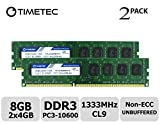 Timetec Hynix IC DDR3 1333MHz PC3-10600 Unbuffered Non-ECC 1.5V CL9 2Rx8 Dual Rank 240 Pin (8GB(4GBx2))