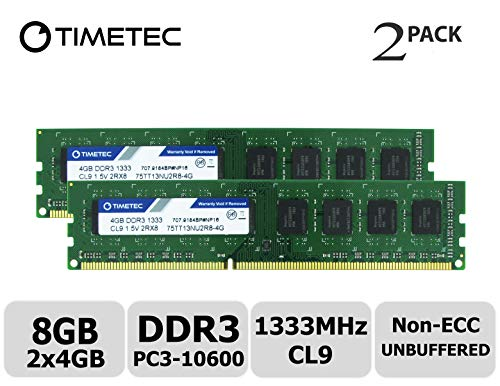 Timetec Hynix IC 8GB Kit (2x4GB) DDR3 1333MHz PC3-10600 Unbuffered Non-ECC  1 5V CL9 2Rx8 Dual Rank 240 Pin UDIMM Desktop Memorie Module Upgrade (8GB