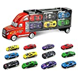 SINACO spielzeugautos Aufbewahrungs LKW mit 12 Metall Autos Handheld Geschenkset für Kinder ab 3 Jahren