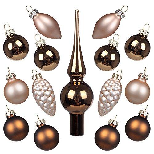 Art beauty mini palle di natale albero ornamenti palla di vetro con puntale 15 pz centrotavola addobbi per festa di nozze banchetto, bronze and champagne