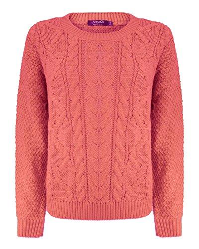 Top Vendor - Maglione a maniche lunghe, da donna, a trecce, largo, taglie: 40-44 Coral