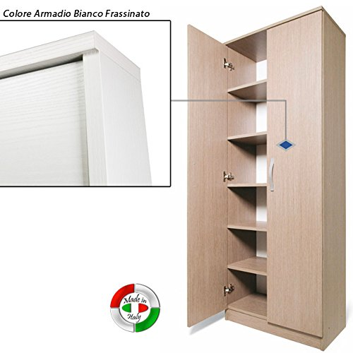 Mobile Scarpiera Con Ante.Armadio Scarpiera Bianco Mobile Due Ante Multiuso 6 Ripiani