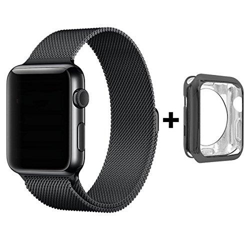 Für Apple Watch Armband 42mm, VIKATech Silikon Schutzhülle + Milanese Schlaufe Edelstahl Smart Watch Armbänder mit einzigartiger Magnetverriegelung ohne Schnalle für Apple Watch Armband 42mm Series 1 / 2, Sport, Edition, Nike+, Schwarz