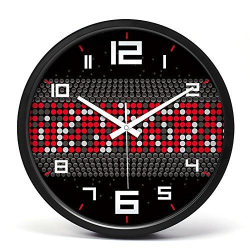Everyday home 35cm personnalité simple métal mute dynamique horizontale rayures horloge murale salon bar décoration créative (Couleur : Silver)