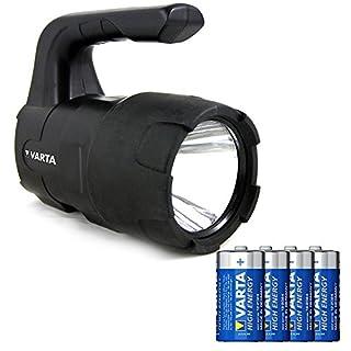 Varta Indestructible LED BL20 Beam Lantern Taschenlampe (3 Watt, inkl. 4 Longlife Power C Baby Batterien, Falltest aus 4 Metern, kratzfest und spritzwassergeschützt)