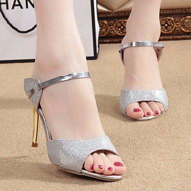 FSCHOOLY Scarpe Donna Pu Primavera Estate Comfort Sandali Stiletto Heel Per Casual Argento Oro Bianco Argento