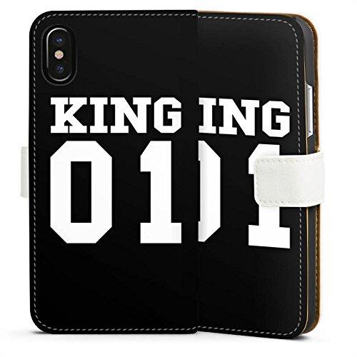 Apple iPhone 7 Plus Hülle Case Handyhülle King 01 König Statement Sideflip Tasche weiß