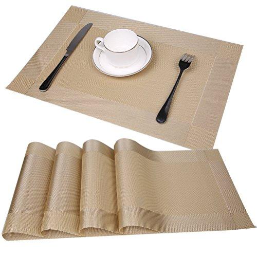 Set da Tavola elegante e durevole Tovaglietta Americana 45 x 30 cm in Plastica Intrecciata, Set di 4 pezzi-Oro - Forcella Coppa