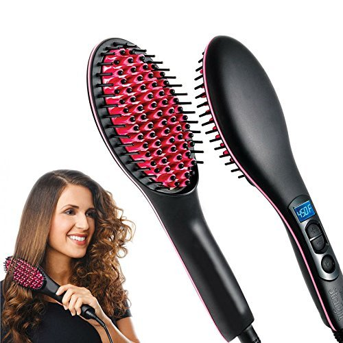 Fast work and Good Look For Girl Straight Premium Ceramic Straightening Brush Curler & Styler Soft and Shine Hair Straightner