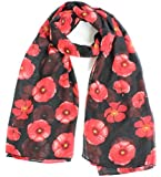 Joy To Wear Ladies Poppy Flower Print Fashion Scarf