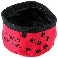 Nicedeal Comedero Bebedero Portatil Color Rojo para Perro Gato Mascotas Suministro de Mascotas para Perros