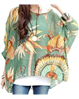 Lady Round Neck Pullover Batwing Sleeve Semi Sheer Top (4)