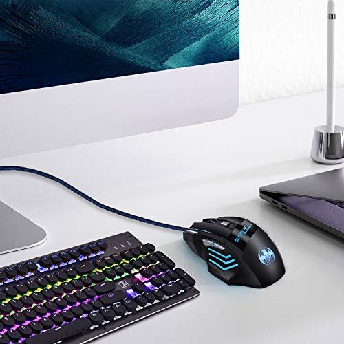 Ratón Gaming - iAmotus Ratón Gaming Óptico[6800 DPI Ajustable] Ratón Gamer Con Cable y 7 Botón, Ratón Ergonómico Retroiluminación RGB para Windows Vista/ Linux/Mac OS/PC/Computadora Portátil