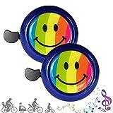 CUKCIC Campanello da Bicicletta per Bambini Bicicletta Corno per Ragazzo Ragazza Clear Sound Arcobaleno Sorriso 2pezzi
