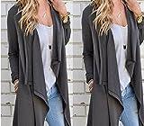 XJoel Femmes Casual Roll-up à manches longues Cardigan Veste Manteau irrégulière Tops en vrac Casual Cardigan Veste irrégulière Sweater Hauts Coat Sweatercoat S