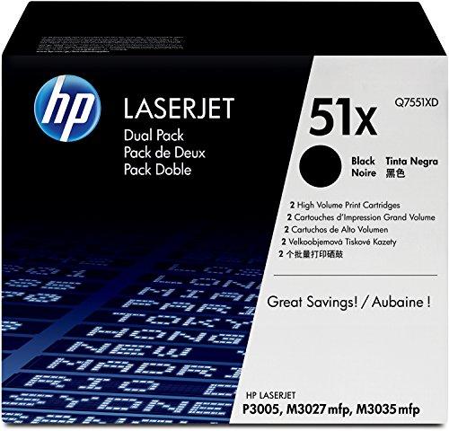 HP 51X 2er-Pack (Q7551XD) Schwarz Original Toner mit hoher Reichweite für HP Laserjet HP Laserjet P3005, M3027, M3035 - P3005n Toner Hp Laserjet