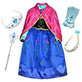FStory&Winyee Mädchen Prinzessin Kleid Blau Kinder Eiskönigin Anna Kostüm Karneval Party Verkleidung Blumen Kostüm mit Umhang Rosa Cosplay Weihnachten Kleider Halloween Fest