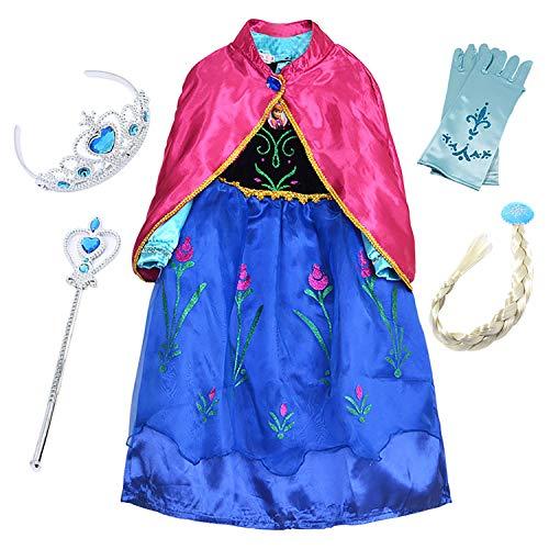 (FStory&Winyee Mädchen Prinzessin Kleid Blau Kinder Eiskönigin Anna Kostüm Karneval Party Verkleidung Blumen Kostüm mit Umhang Rosa Cosplay Weihnachten Kleider Halloween Fest)