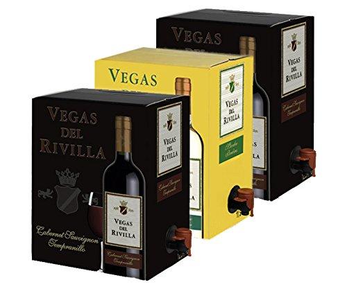 Bag in Box Vino 2 Cajas de 5 litros de Vino tinto y 1 caja de 5 litros de vino blanco Extremeño de Vegas del Rivilla