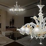 MIA Light Murano Kronleuchter Ø900mm/ Antik/Florentiner/ Amber/Glas/ Lampe Leuchte Lüster Blätter Blumen Mundgeblasen Lüsterlampe Lüsterleuchte