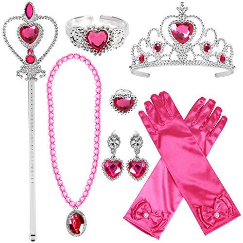 Tacobear Prinzessin Zubehör Set Prinzessin Krone Zauberstab Handschuhe Ohrring Halskette Armband Ring Prinzessin Schmuck für Kinder Mädchen (Rose-Prinzessin ()