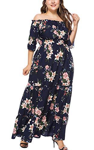 MAGIMODAC Übergröße Kleider Damen Frauen Elegant Off Shoulder Blumen Kleider Cocktailkleid...