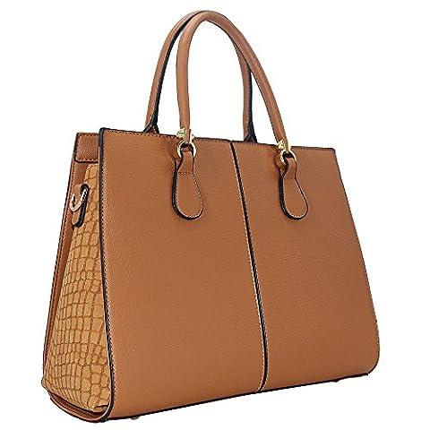 CRAZYCHIC - Sac à main cabas bi-matière avec effet croco daim sur les côtés - Sac femme tendance imitation cuir - Camel