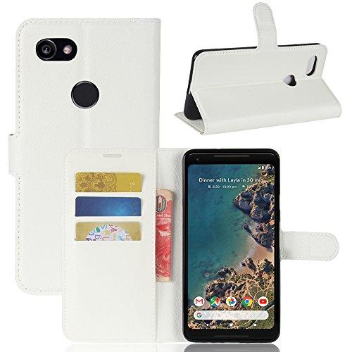 GOGODOG Google Pixel 2 XL Hülle Ultra Schlank Leder Stoßstange Voll Karosserie Schutz Brieftasche Geschäft Stil mit Stand Funktion Und Auto Schlaf Aufwachen Oben (Weiß) -