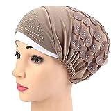 Frauen Hut Muslim Stretch Turban Chemo Cap Haarausfall Kopftuch Wrap Hijab Elegante Stange Gefaltete Kopf Schal Krebs MüTze HäKeln Beanie Slouchy Unisex Caps StrickmüTze(Kaffee,Freie Größe)