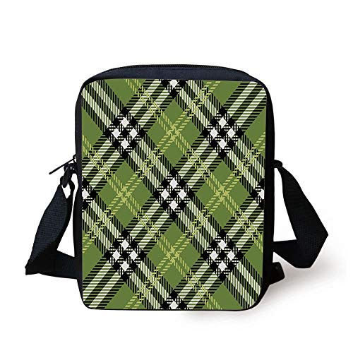 WITHY Checkered,Classical Celtic Pattern Symmetrical Stripes and Squares Print Decorative,Fern Green Black Light Yellow Print Kids Crossbody Messenger Bag Purse -