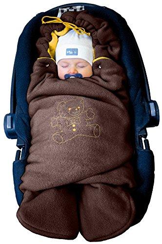 """Preisvergleich Produktbild ByBoom® - Baby Winter-Einschlagdecke """"Das Original mit dem Bären"""", Universal für Babyschale, Autositz, z.B. für Maxi-Cosi, Römer, für Kinderwagen, Buggy oder Babybett, Farbe:Braun/Orange"""