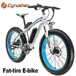 Cyrusher XF660 500 Watt 26 Zoll Schnee Strand Fett Reifen Elektrische Mountainbike Herren Mountainbike E-Bike mit Hydraulischen Scheibenbremsen Aluminiumrahmen MTB Hardtail E Bike (Blau)