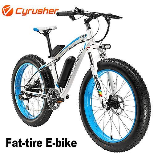 Cyrusher® Extrbici XF660 48V 500 Watt Weiß Blau Mans Elektro Fahrrad Mountain Bike 7 Geschwindigkeiten Elektro Fahrrad Scheibenbremsen