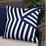 The Continental Colourful Waterproof Fibre Filled Outdoor Cushion for Garden Chairs and Benches - Navy Deco Stripe