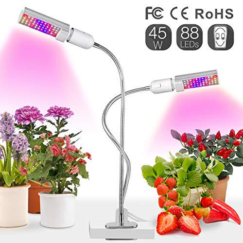 Relassy 45W LED Vollspektrum Pflanzenlampe 88 LEDs Pflanzenlicht mit Zwei Austauschbare E27 Glühlampen Wachstumslampe mit verstellbarem Schwanenhals für Zimmerpflanzen und Gewächshaus (M-45W)